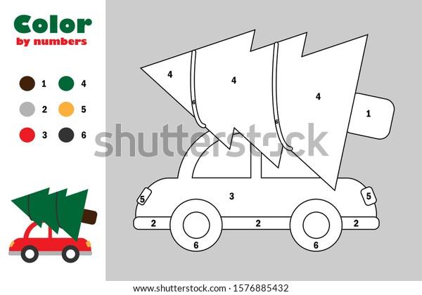 Fir Tree On Car Cartoon Style Stock Vector (Royalty Free) 1576885432
