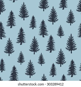 Fir tree pattern. Engraved vector illustration