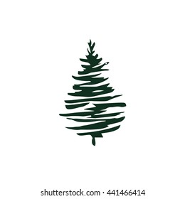 Fir tree silhouette isolated on white. Vector illustration