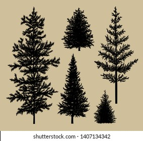 Fir tree silhouette on brown paper background vector illustration