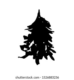 Fir tree silhouettes. Black grunge Christmas tree. Watercolor spruce isolated on white background. Vector illustration.