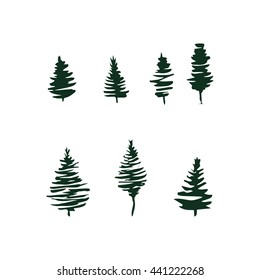 Fir tree silhouettes set isolated on white. Vector illustration