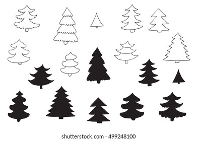 fir tree vector silhouette line set