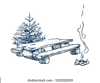 Fir tree with wooden bench and table and smoking campfire. Travel symbol, camping tourism. Hand drawn illustration in engraving style. Vector vintage concept isolated on white background.