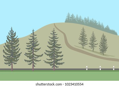 Fir trees set and their silhouettes arranged in the landscape. Spruce on the background of the road and the hill. Vector illustration EPS-8.