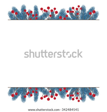 Fir Twig Decoration Copy Space Stock Vector (Royalty Free) 342484541