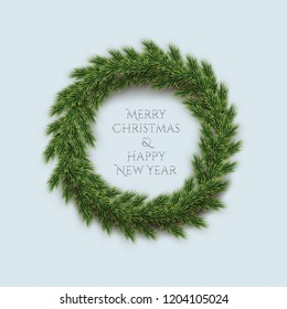 Fir wreath with Merry Christmas and Happy New Year text isolated on blue background. Vector design element