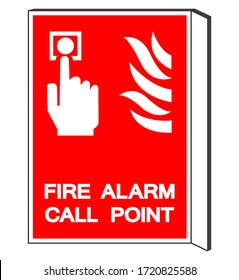 Fire Alarm Call Point Symbol Sign, Vector Illustration, Isolate On White Background Label. EPS10
