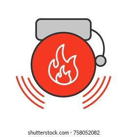 Fire alarm color icon. Alert. Isolated vector illustration