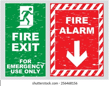 Fire alarm, fire exit sign in vintage style, eaty to remove scratch