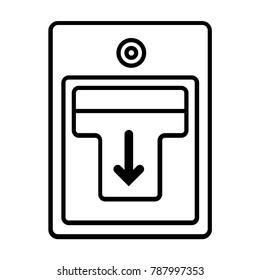 Fire alarm icon with button push in pull down