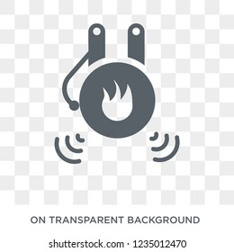 Fire alarm icon. Trendy flat vector Fire alarm icon on transparent background from smart home collection.