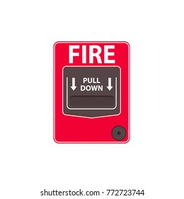 Fire alarm pull station. Vector illustration isolated on white background