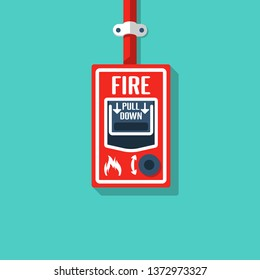 Fire alarm system. Fire button. Emergency siren. Vector illustration flat design. Isolated on white background. Red alarm equipment detector.