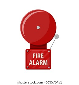 Fire alarm system. Fire equipment. Vector illustration in flat style