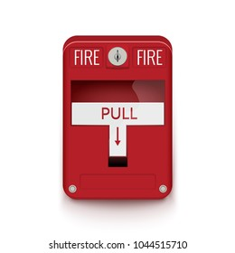 Fire alarm system. Pull danger fire safety box. Break red alarm equipment detector.