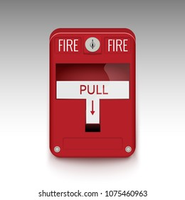 Fire alarm system. Pull danger fire safety box. Break red alarm equipment detector safe detector.