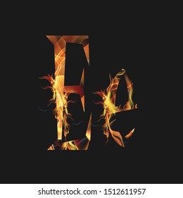 fire alphabet, the letter E is burning with a dark or black background that can be edited and changed in color