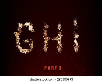 fire alphabet. letters G H I of flame
