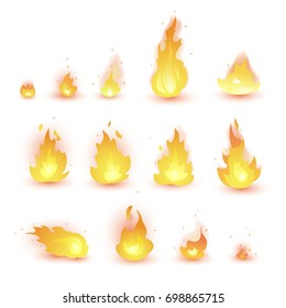 fire animation sprites flames vector set. hot fire and inferno explosion vector set