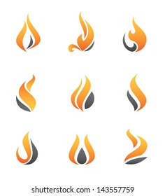 Fire apstract flame symbol logo and icon