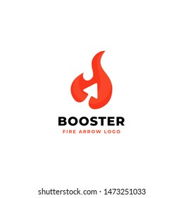 Fire arrow vector logo design. flame symbol with arrow icon for power booster illustration concept design