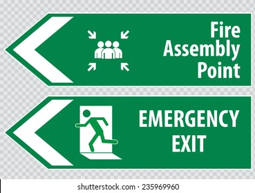 Fire Assembly Point  and emergency exit Sign
