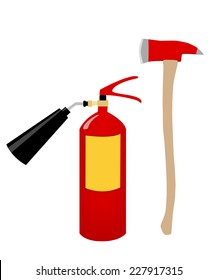 Fire axe, fire extinguisher, fire safety, fire alarm