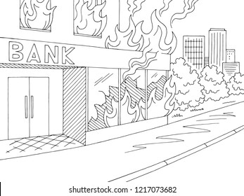 Fire in bank exterior graphic black white sketch city landscape illustration vector