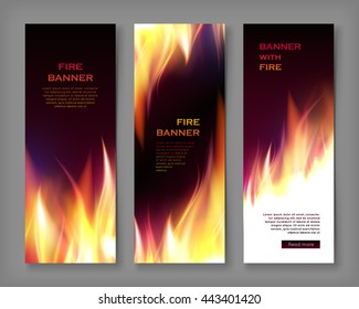 Fire banner. Abstract editable ablaze frame design. Realistic fire flame banner template set vector illustration. Creative media page, flyer with fiery inferno effect. Flammable poster collection