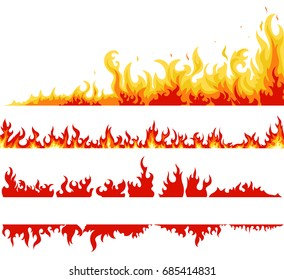 Fire banner set, fame backgrounds, Horizontal bonfire template for web or brochure, explosion decoration. Vector