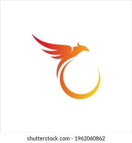 fire bird phoenix creative logo design illustration