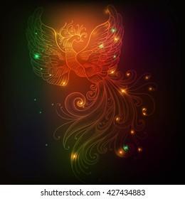 Fire bird with stars vector clip-art Glow neon colors