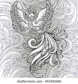 Fire bird vector clipart. Black contour on a white background. Boho chic, coloring page, zentangle art New Year fire cock. Hohloma style
