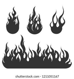 Fire Black Flat Icons