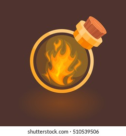 Fire in the bottle icon for games. Magic bottle with fire inside isolated on a dark brown background.