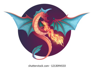 Fire breathing flying dragon. Vector illustration