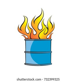 a fire burning in barrel in color-vector drawing
