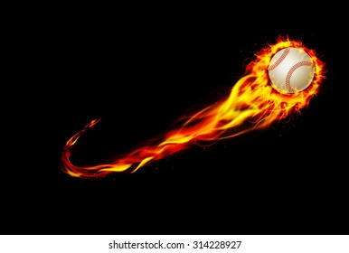 Fire burning baseball with background black. vector