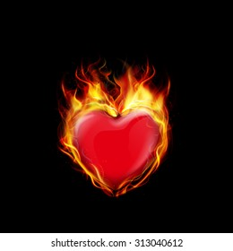 Fire burning a heart on black background. vector