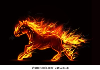 Fire burning horse of running on black background. vector