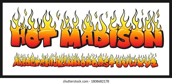 Fire burning letters set. latin alphabet. Vector font