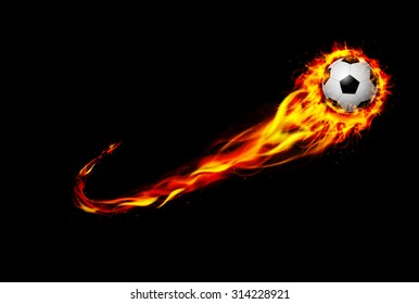 Fire burning Soccer ball with background black. vector