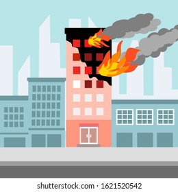 Fire burning tower of apartment building. Orange flames in the windows and smoke . Building fire flat design vector illustration.