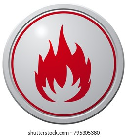 Fire Button Round Glossy Icon.