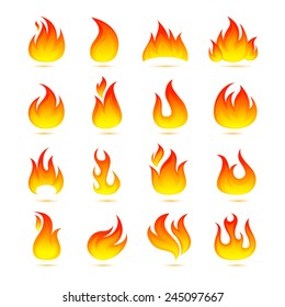 Fire campfire bonfire hot flame curls icons set isolated vector illustration