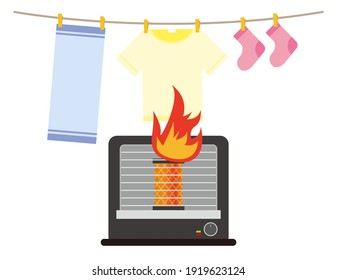 A fire caused by a fire from an oil stove. Vector illustration.