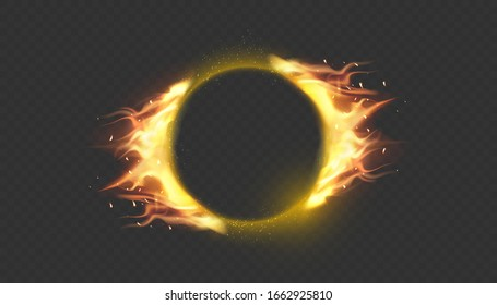 Fire circle. Ring of fire flame. Round fiery frame.