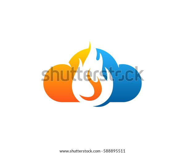 Fire Cloud Logo Design Element