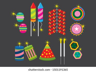 Fire crackers vector icon set. is a small explosive device primarily designed to produce a large amount of noise, especially in the form of a loud bang; any visual effect is incidental to this goal.